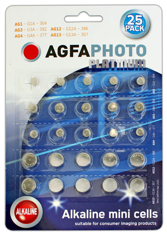 Agfa Photo Mixed Platinum Alkaline Watch Batteries - Pack of 25