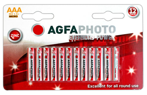 Agfa Photo Zinc Chloride AAA Battery - Pack of 12