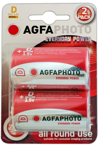 Agfa Photo Zinc Chloride D Battery - Pack of 2 - Battery Warehouse UK | Free UK Delivery on all Orders