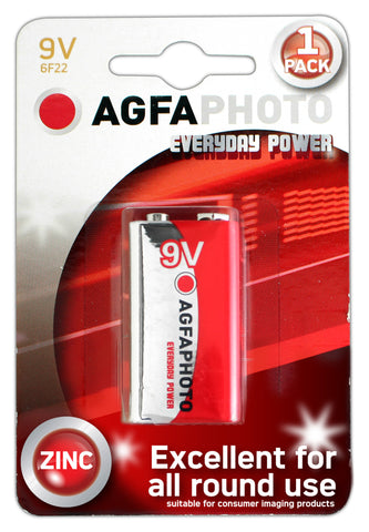 Agfa Photo Zinc Chloride 9v Battery - Pack of 1 - Battery Warehouse UK | Free UK Delivery on all Orders