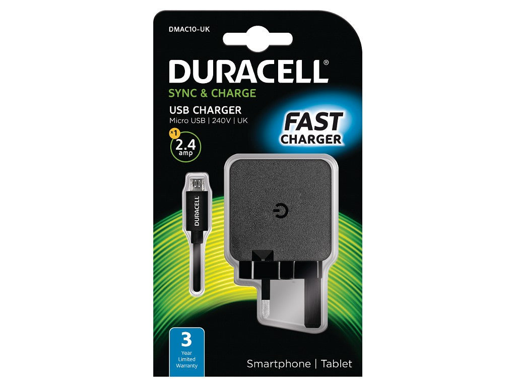 Duracell 2.4A 1M Micro USB Mains Charger - Black (DMAC10-UK) - Battery Warehouse UK | Free UK Delivery on all Orders