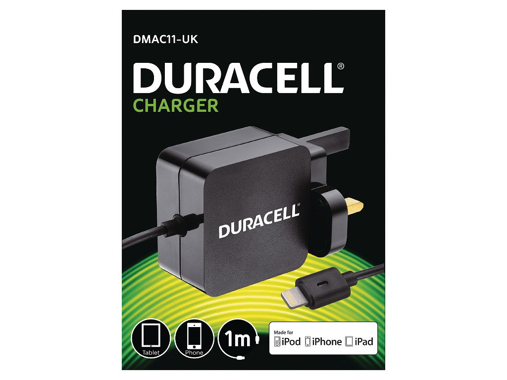 Duracell 2.4A 1M Apple Lightning Mains Charger - Black (DMAC11-UK) - Battery Warehouse UK | Free UK Delivery on all Orders
