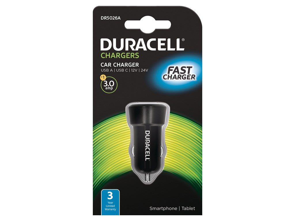 Duracell In Car 3A shared Type-C and USB charger - Black (DR5026A) - Battery Warehouse UK | Free UK Delivery on all Orders