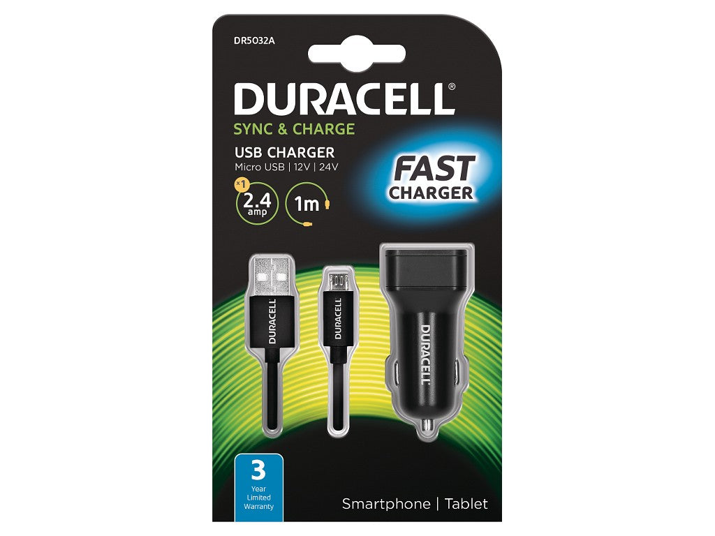 Duracell In Car 2.4A Charger + 1M Micro USB Cable - Black (DR5032A) - Battery Warehouse UK | Free UK Delivery on all Orders