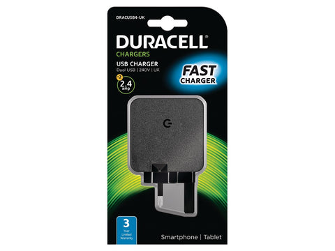 Duracell 2 x 2.4A Dual USB Mains Charger (DRACUSB4-UK) - Battery Warehouse UK | Free UK Delivery on all Orders