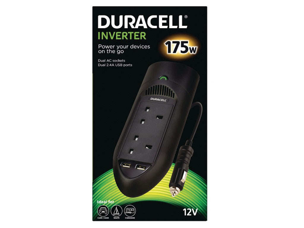Duracell 175W Power Inverter with Dual AC & USB - Black (DRINV15-UK) - Battery Warehouse UK | Free UK Delivery on all Orders