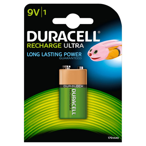 Duracell 9v 170mAh Recharge Ultra Battery - Pack of 1 - Battery Warehouse UK | Free UK Delivery on all Orders