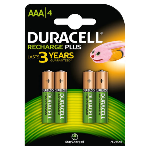 Duracell AAA 750mAh Rechargeable Battery - Pack of 4