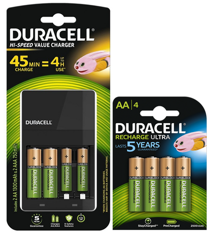 Duracell AA 2500mAh Rechargeable Batteries & CEF14 Value Charger