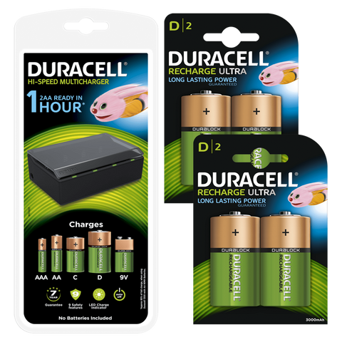 Duracell Multi-Battery Charger & 4 x D 3000mAh Rechargeable Batteries - Battery Warehouse UK | Free UK Delivery on all Orders