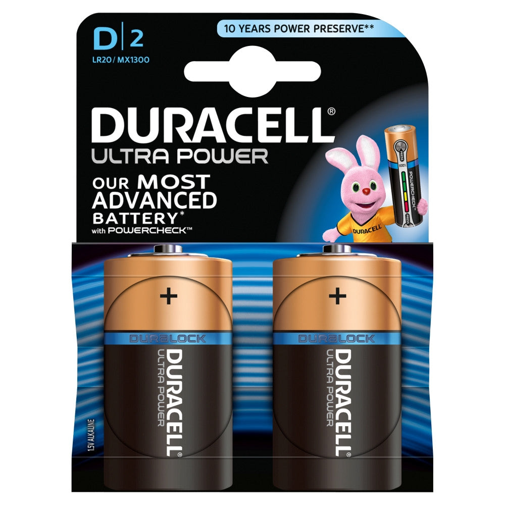 Duracell Ultra Power D 1.5v Battery - Pack of 2 - Battery Warehouse UK | Free UK Delivery on all Orders