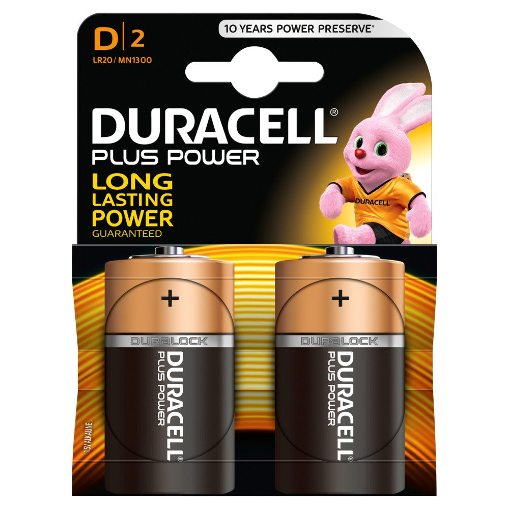 Duracell Plus Power D 1.5v Battery - Pack of 2 - Battery Warehouse UK | Free UK Delivery on all Orders