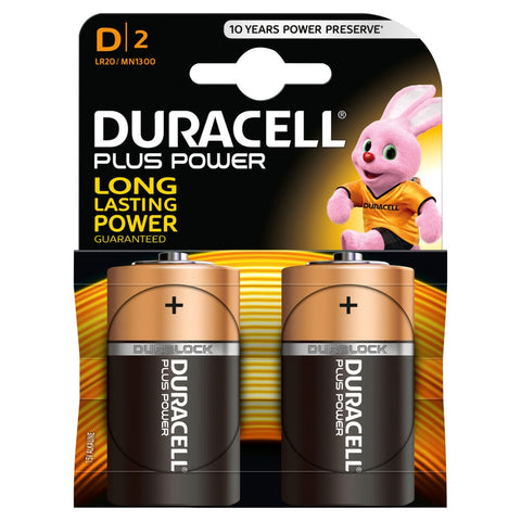 Duracell Plus Power D 1.5v Battery - Pack of 2