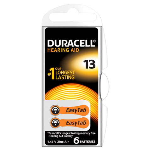 Duracell Easytab ZA13 Zinc Air Hearing Aid Battery - Pack of 6