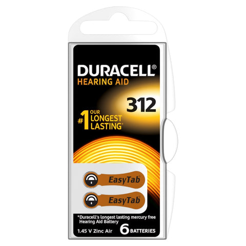 Duracell Easytab ZA312 Zinc Air Hearing Aid Battery - Pack of 6
