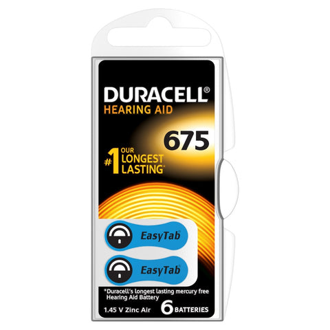 Duracell Easytab ZA675 Zinc Air Hearing Aid Battery - Pack of 6