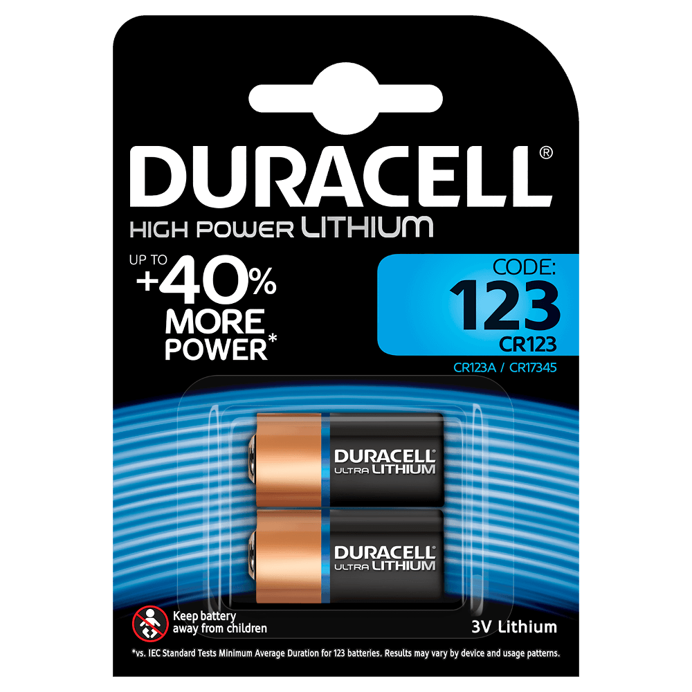 Duracell Photo Lithium CR123 3v Battery - Pack of 2 - Battery Warehouse UK | Free UK Delivery on all Orders