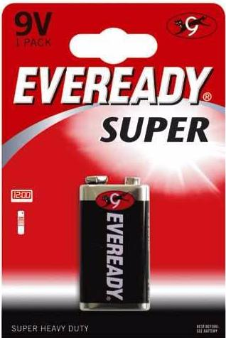 Eveready Super Heavy Duty Zinc 9v Battery - Pack of 1 - Battery Warehouse UK | Free UK Delivery on all Orders