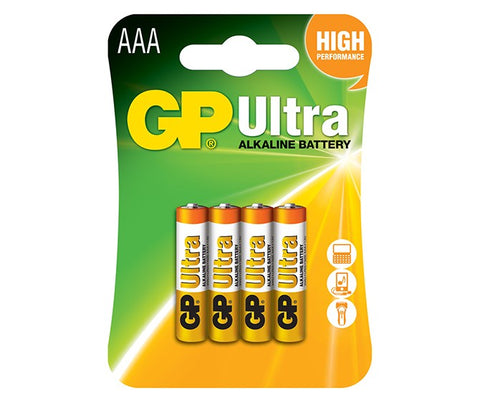 GP Ultra Alkaline AAA MN2400 1.5v Battery - Pack of 4 - Battery Warehouse UK | Free UK Delivery on all Orders