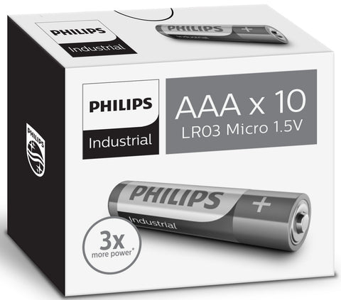 Bulk Industrial by Philips AAA 1.5v Alkaline Battery - Pack of 10 | LR03 MN2400 - Battery Warehouse UK | Free UK Delivery on all Orders