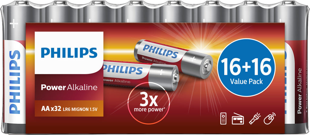 Philips Power Alkaline AA LR6 Battery - Pack of 32