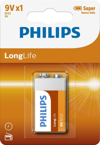 Philips Longlife Zinc 9v Battery - Pack of 1