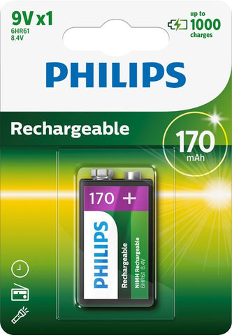 Philips 9v 170mAh Rechargeable Battery - Pack of 1 - Battery Warehouse UK | Free UK Delivery on all Orders