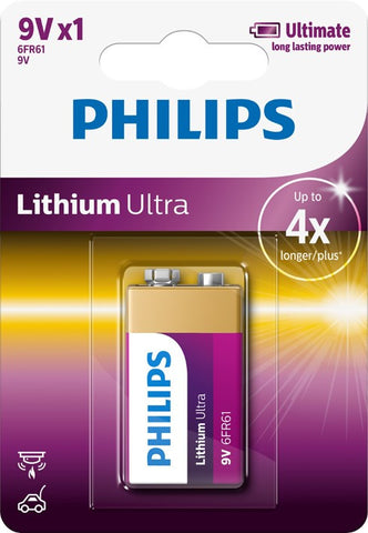 Philips Ultra Lithium 9v Battery - Pack of 1