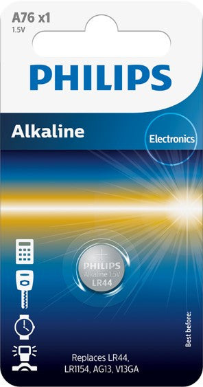 Philips Alkaline LR44 1.5v Battery - Pack of 1 | A76 - Battery Warehouse UK | Free UK Delivery on all Orders