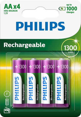 Philips AA 1300mAh Rechargeable Battery - Pack of 4 - Battery Warehouse UK | Free UK Delivery on all Orders