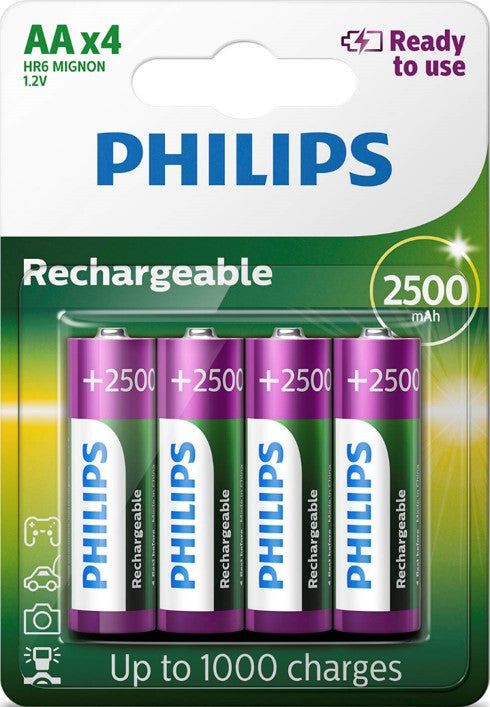 Bulk Philips AA 2500mAh Rechargeable Battery - Pack of 4 | HR6 - Battery Warehouse UK | Free UK Delivery on all Orders