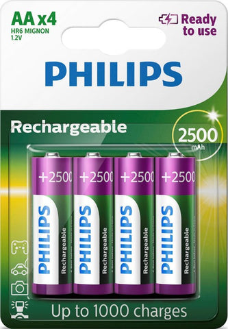 Philips AA 2500mAh Ready To Use Rechargeable Battery - Pack of 4