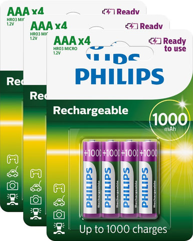 Philips AAA 1000mAh Ready To Use Rechargeable - Pack of 12 - Battery Warehouse UK | Free UK Delivery on all Orders