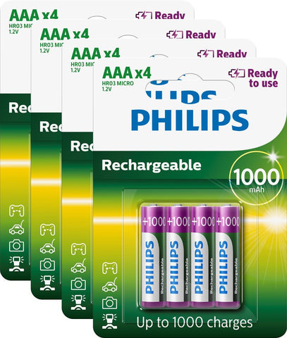 Philips AAA 1000mAh Ready To Use Rechargeable - Pack of 16 - Battery Warehouse UK | Free UK Delivery on all Orders