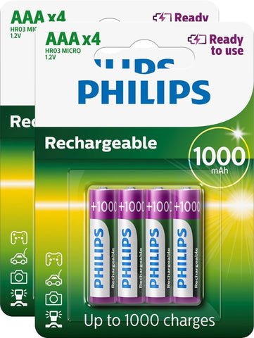 Philips AAA 1000mAh Ready To Use Rechargeable - Pack of 8 - Battery Warehouse UK | Free UK Delivery on all Orders