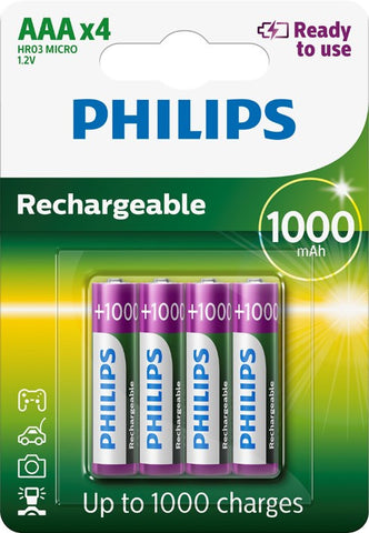 Philips AAA 1000mAh Ready To Use Rechargeable - Pack of 4 - Battery Warehouse UK | Free UK Delivery on all Orders
