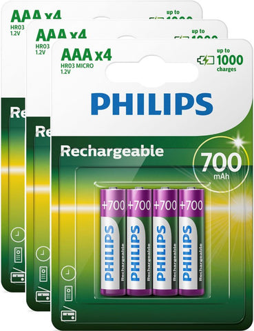 Philips AAA 700mAh Rechargeable Battery - Pack of 12 - Battery Warehouse UK | Free UK Delivery on all Orders