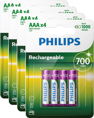 Philips AAA 700mAh Rechargeable Battery - Pack of 16