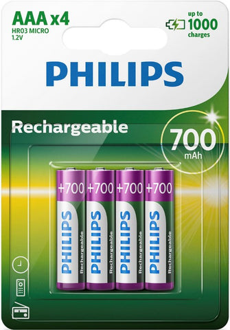Philips AAA 700mAh Rechargeable Battery - Pack of 4 - Battery Warehouse UK | Free UK Delivery on all Orders