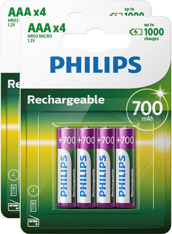 Philips AAA 700mAh Rechargeable Battery - Pack of 8