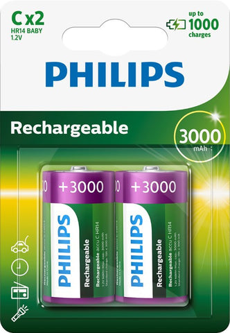 Philips C 3000mah Rechargeable Battery - Pack of 2