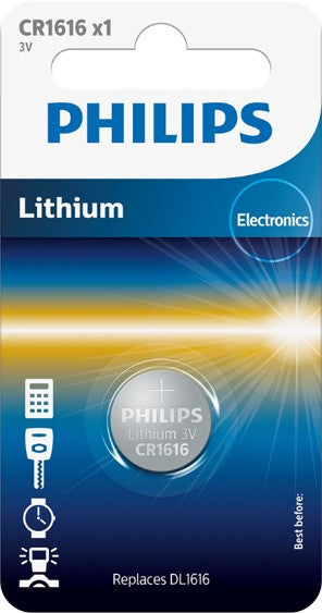 Philips Lithium Coin CR1616 Battery - Pack of 1