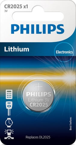 Philips Lihtium Coin CR2025 Battery - Pack of