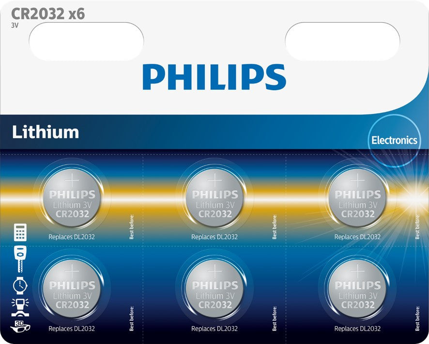 Philips Lihtium Coin CR2032 Battery - Pack of 6