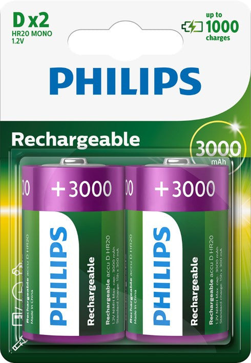 Philips D 3000mAh Rechargeable Battery - Pack of 2