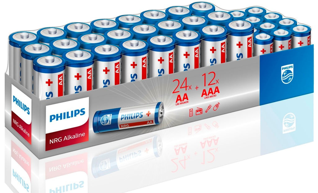Philips NRG Power Alkaline 36 Pack - 24 AA & 12 AAA - Battery Warehouse UK | Free UK Delivery on all Orders