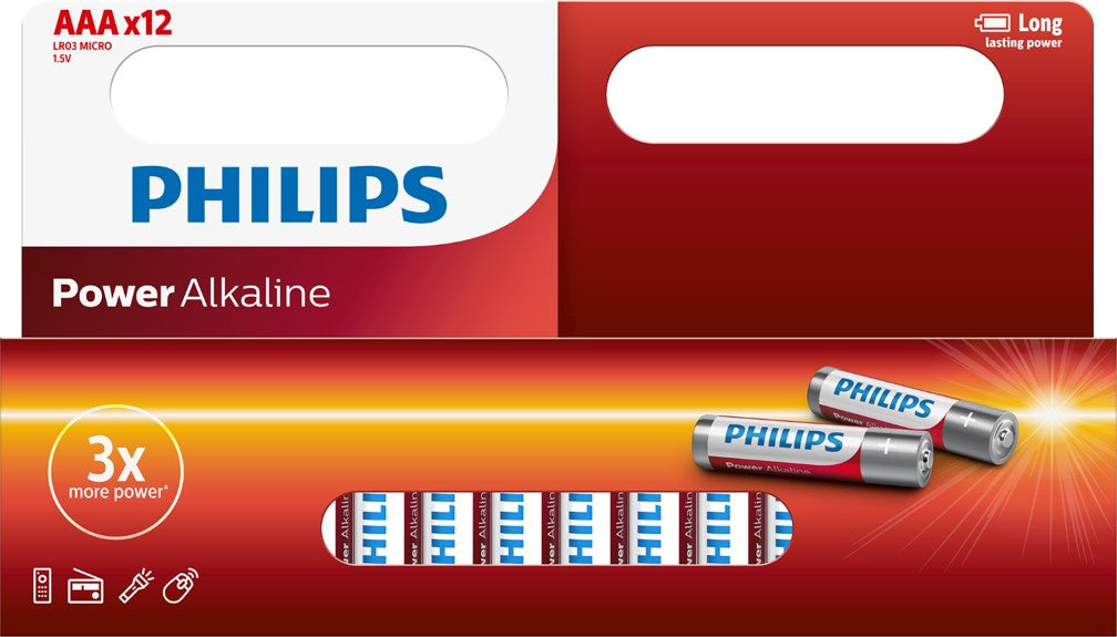 Philips Power Alkaline AAA LR03 Battery - Pack of 12