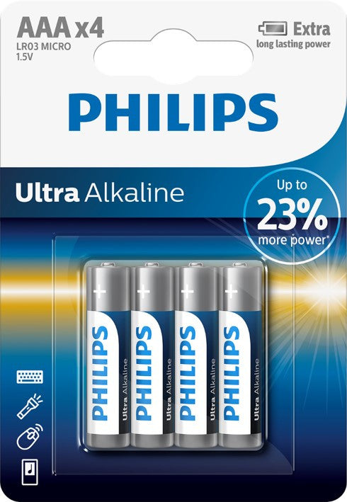Philips Ultra Alkaline AAA LR03 Battery - Pack of 4