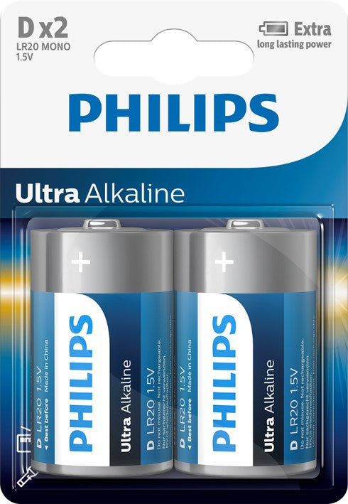 Philips Ultra Alkaline D LR20 Battery - Pack of 2 - Battery Warehouse UK | Free UK Delivery on all Orders