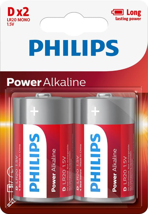 Philips Power Alkaline D LR20 Battery - Pack of 2